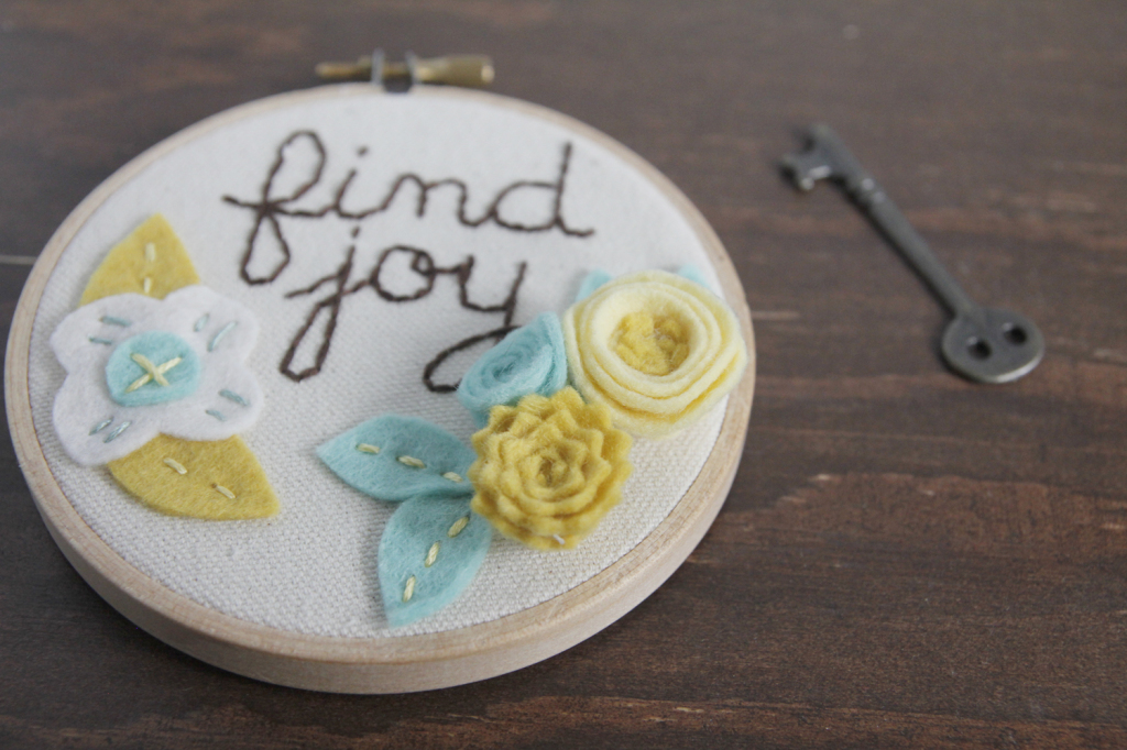 Teal and Mustard Hoop Art with Felt Flowers