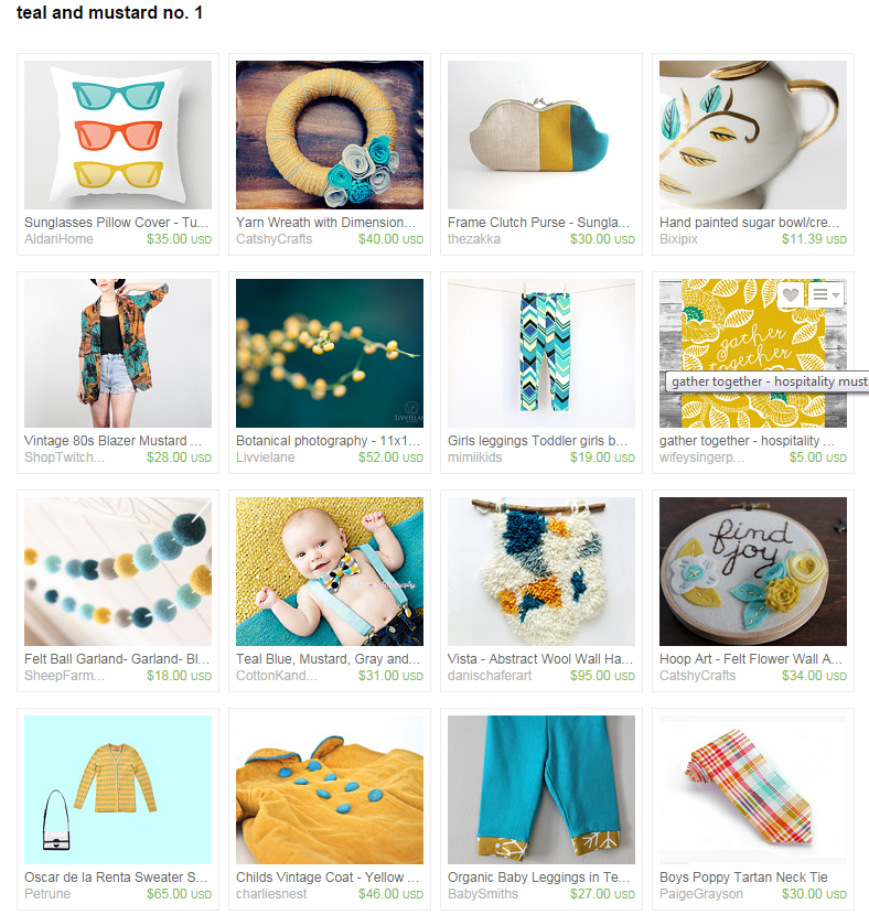 Teal and Mustard Etsy Home Decor
