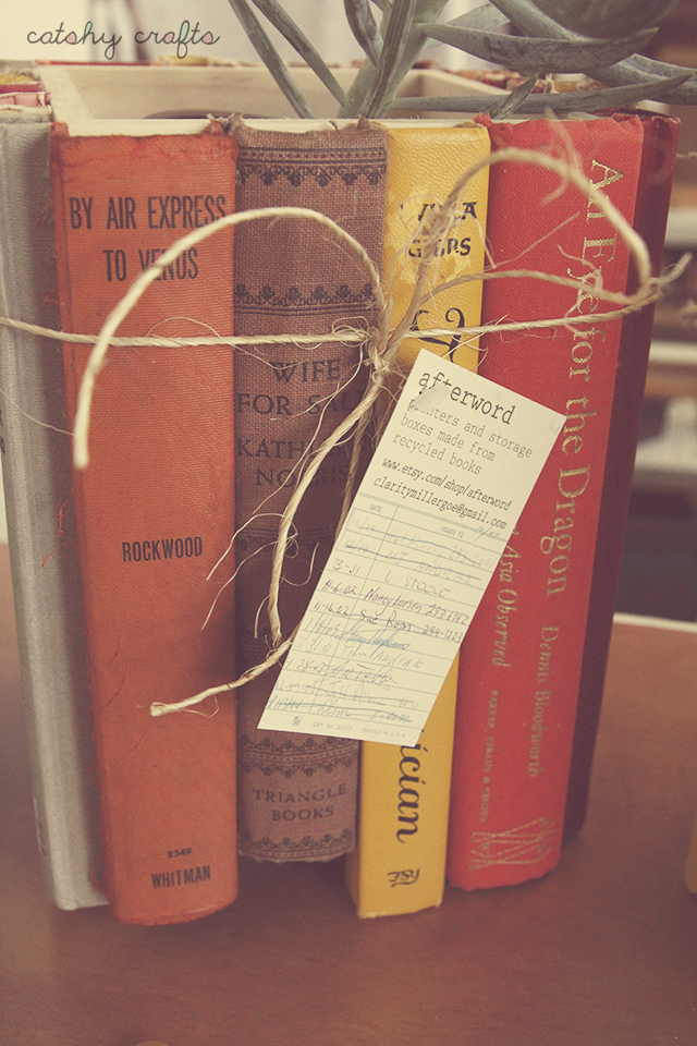 Vintage books. Hidden storage. Retro library cards as tags? Yes, please and thank you, Afterword.