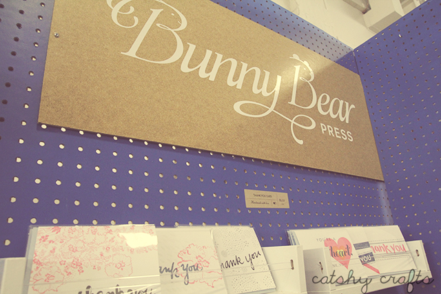 Bunny Bear Press had a striking blue-painted pegboard display. I'm a big fan of Adina's letterpress cards and stationery!