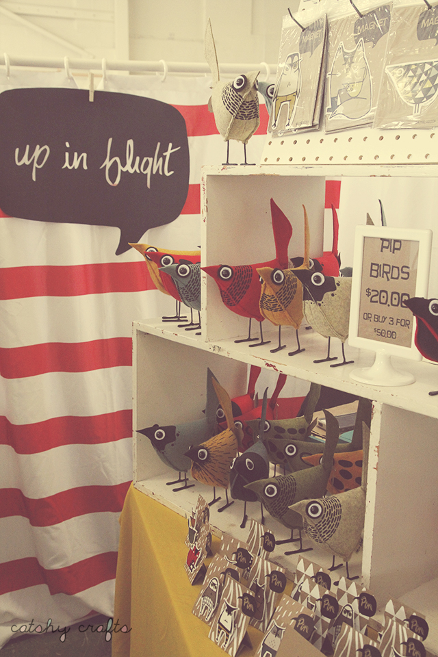 This booth was delightful and full of these whimsical wool felt birds by Up in Flight.